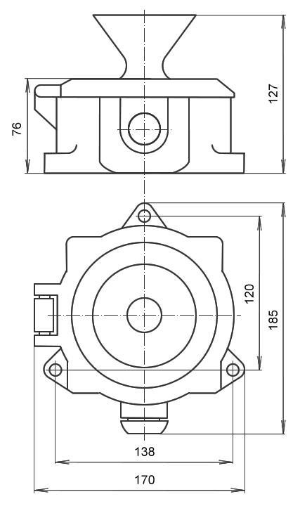 Рис.1 Габаритные и установочные размеры ревуна РВП 127 переменного тока.
